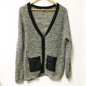 Sparkle & Fade Sweaters - Sparkle & Fade sweater cardigan gray black SMALL